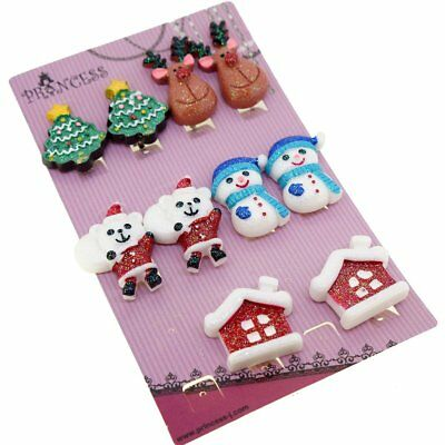 Christmas Bear Tree Snowman House Reindeer Clip on Earrings for Kids Gift Girls