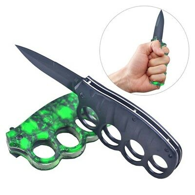 Outdoor Camping Survival Fishing Hunting Stainless Green ghost Folding Knife