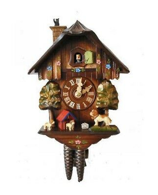 Chalet 1 - Day Cuckoo Clock With Moving Dog And Cat 28cm By Hubert Herr
