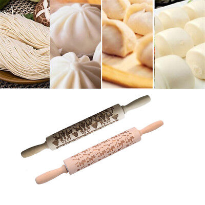 Christmas Engraved Embossed Wood Rolling Pin Pastry Embossing Biscuit Tool HE