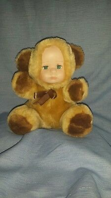 New Vintage 1980s Stuffed Teddy Bear with hard Doll Face FREE SHIPPING CAN USA