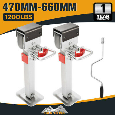 2x 470mm DROP DOWN CORNER LEGS STEADIES & HANDLE STEEL FOOT CARAVAN TRAILER