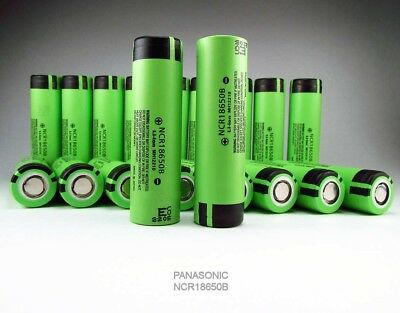 Panasonic 18650 3400mAh Rechargeable Battery NCR18650B Li-ion Flat Top Free Case