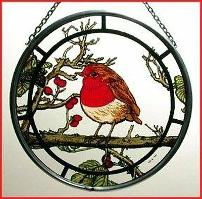 Decorative Winged Heart Hand Painted Stained Glass Roundel - Fat Robin