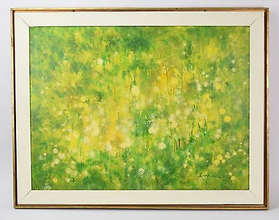 """Vintage 1968 Mid-Century Abstract Oil Painting """"Flower Garden"""" signed"""