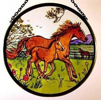 Decorative Winged Heart Hand Painted Stained Glass Roundel - Horse and Foal