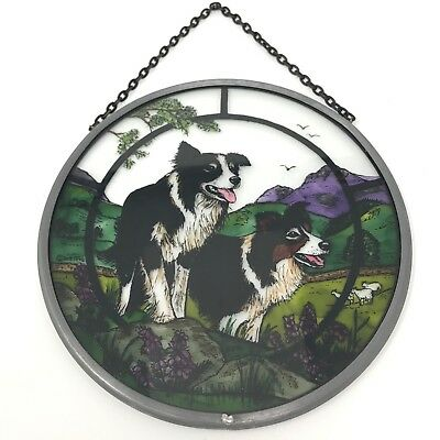 Decorative Winged Heart Hand Painted Stained Glass Roundel - Collie Dog