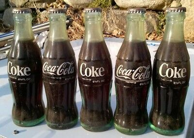 1960S Coca-Cola Bottles (6 1/2 Oz. Full Heavy Green Glass Bottles W/silver Caps)