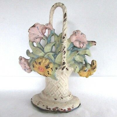 Antique Cast Iron Doorstop by Hubley - Flower Basket 120 - Original Paint