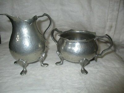 Antique Arts & Crafts Tudric 01700 Pewter Archibald Knox Liberty Sugar & Creamer