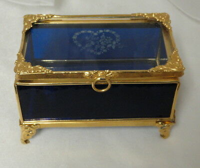 "Antique Small 5"" Cobalt Blue & Clear Glass with Ornolu Metal Jewelry Casket /Box"