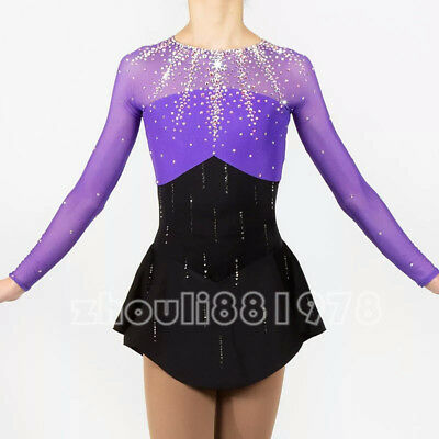 New Girls Women Ice Figure Skating Dress  For Competition Purpel Black