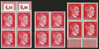 Germany Third Reich 1942 MNH - Hitler Defin.12 Pf Block of 4 Variations Marginal