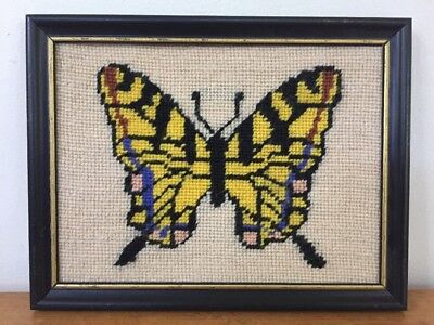 Vtg 70s Cross Stitch Crewel Yellow Black Wing Butterfly Embroidery Art Framed