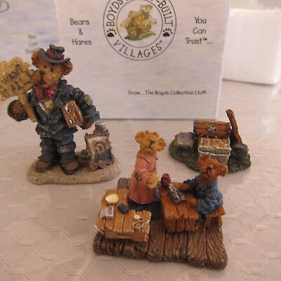 "Boyds Bearly Built Village ""Jimmy Bob, Patsy, Mr. Pennypincher's Pickins"" NIB"