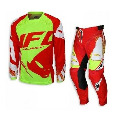 Kit Completo Tuta Cross Ufo Sequence Rosso Giallo Fluo Made In Italy Tg S+44