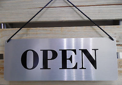 Open/closed Sign - Smart Brushed Silver Aluminium - Retail/shop