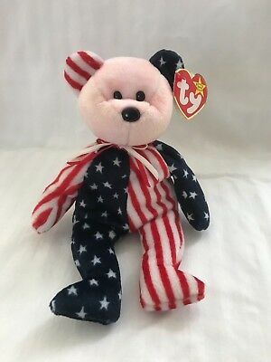 TY Beanie Baby SPANGLE Pink Face BEAR  American Flag 6/14/1999
