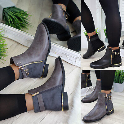 New Womens Ladies Flat Ankle Boots Buckle Zip Casual Low Heel Shoes Sizes 3-8