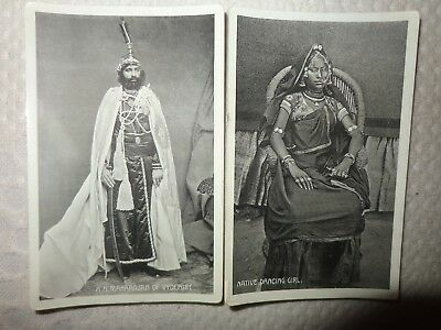 India Old Postcards x 2 Maharajha of  Vydepore native dancing girl MARCOPOLO QQ