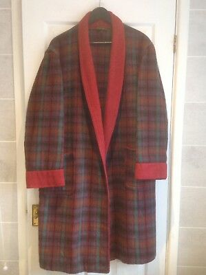 Mens Vintage WILLIAM DIXON 100% Wool Red Tartan Dressing Gown Sz M Chest 40/41""