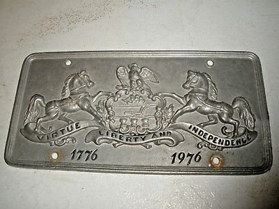 Vintage Pennsylvania License Plate Virtue Liberty Independence Pewter 1976