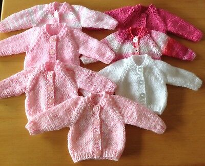 """Dolls Clothes Hand Knitted cardigan 12-14"""" 30-36 cm Doll.  Choice Of Colour."""
