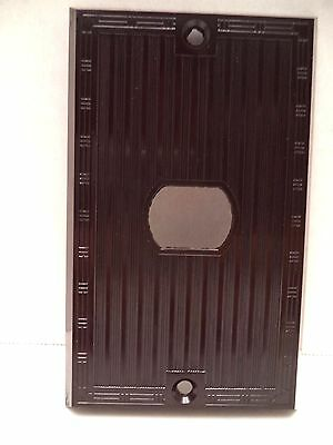 Despard brown single switch plate cover Bryant vtg bakelite ribbed art deco line