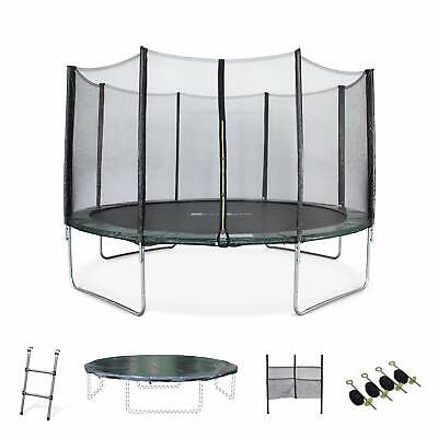 Pack Trampoline Ø400cm - Mercure XXL vert, filet de protection, échelle, bâche,