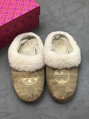 d3e6efdc0ad TORY BURCH Coley Slippers Split Suede Mirror Craqulee Shoes Royal Tan Sz. 8   N18