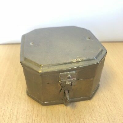 An antique or vintage brass TRENCH ART jewellery watch box