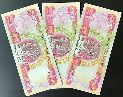 (3) 25,000 Iraqi Dinar Banknotes (IQD) - OFFICIAL IRAQ CURRENCY - QUICK SHIPPING