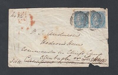 India 1858 1/2 A Pair On Military Cover Bombay To Lucknow