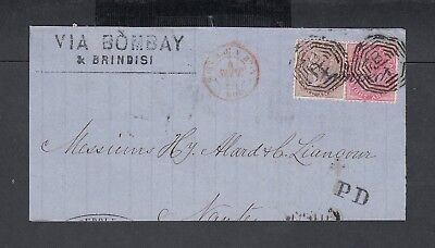 India 1870 Victoria Partial Folded Letter Bombay To Nantes France