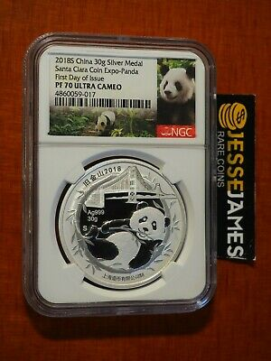 2018 China Proof Silver Panda Ngc Pf70 First Day Of Issue Santa Clara Coin Expo