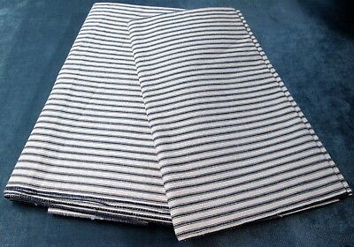Antique Navy & Oatmeal Ticking Fabric 2 Pcs 8+ Yds Never Used FREE SHIPPING