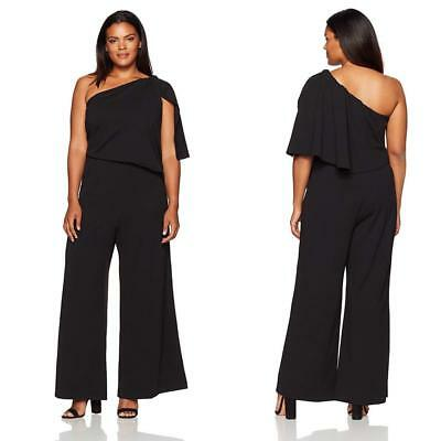 7a5a67ad NEW Adrianna Papell BLACK Plus Size Knit CREPE One Shoulder PALAZZO JUMPSUIT