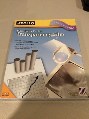 "Apollo Transparency Film PP100C 100 Sheets 8.5"" x 11"" for Plain Paper Copiers,"