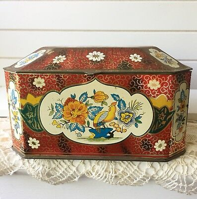 Vintage Floral Tin Box The Metal Box Company By Hudson Scott Made In England
