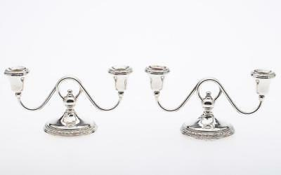 Pair: Frank Whiting Sterling Silver Two Light Candelabras
