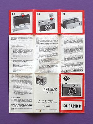 Vintage operating manual for AGFA ISO-RAPID C camera - pamphlet