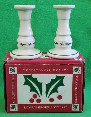 "Pair of Longaberger Traditional Holly 5"" Candlesticks"