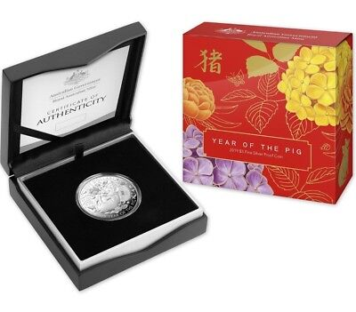 2019 $5 RAM Lunar Year of the Pig 1oz Silver Proof Coin