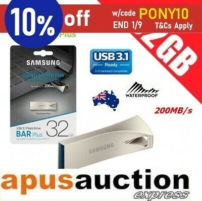 Samsung 32GB Bar Plus USB 3.1 Flash Drive Memory 200MB/s Champagne Silver PC