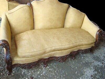 antique vintage couch and chair yellow