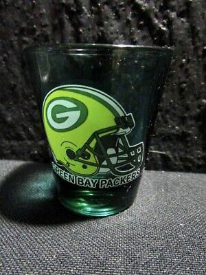 GREEN BAY PACKERS  (NFL)  SHOT GLASS  -  Green Base Color