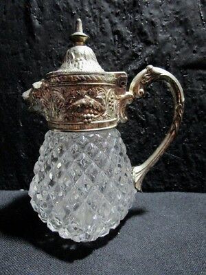 Vintage  Silverplate  Lion Head Spout  Waffle Pressed Glass  Syrup Pitcher