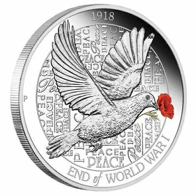 2018 $1 End of WWI 100th Anniversary 1oz Silver Proof Coloured Coin