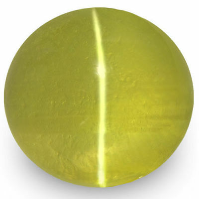 2.74-Carat 7.50mm Round Greenish Yellow Chrysoberyl Cat's Eye (IGI-Certified)