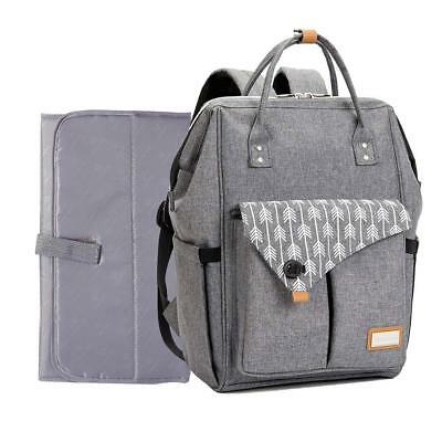 Multi-use Large Mummy Baby Diaper Nappy Backpack Mom Changing Travel Bag Gray UK